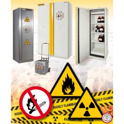 Gyúlékony anyagok, folyadékok tárolására alkalmas szekrények, tűzálló szekrények