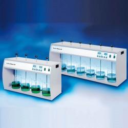 Lovibond ET 740 típusú négyhelyes laboratóriumi flokkteszter, jar teszter