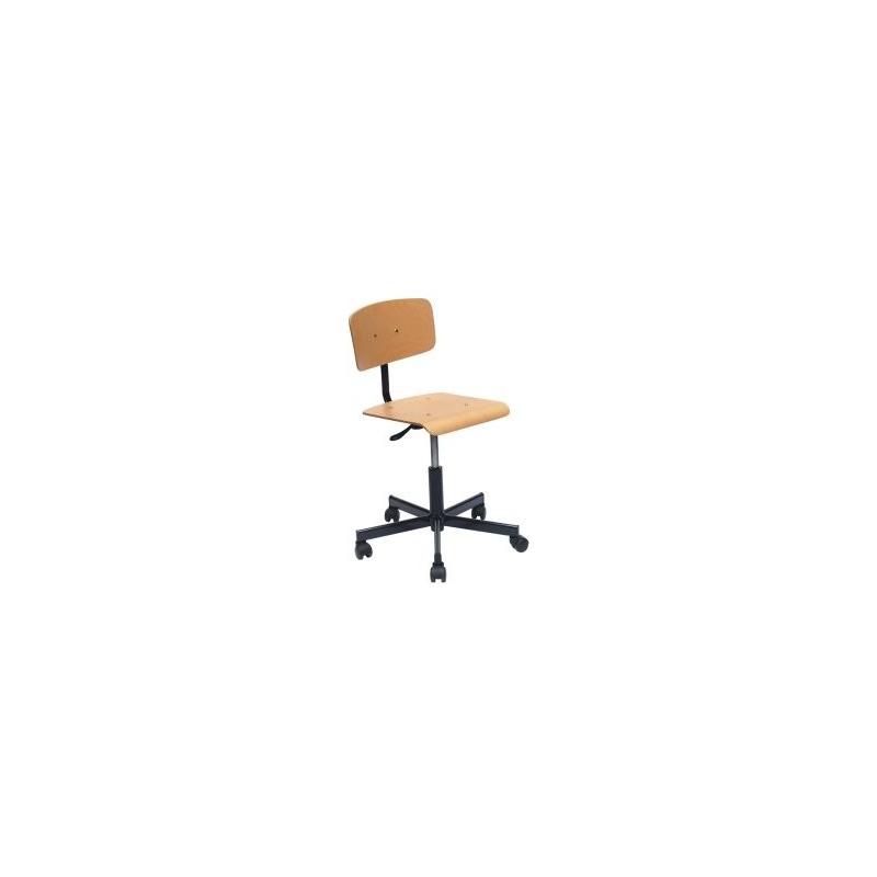 Factory Lift laboratóriumi szék, laborszék, fa hát- és ülőfelülettel