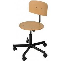 Techniq Lift laboratóriumi szék, laborszék, fa hát- és ülőfelülettel