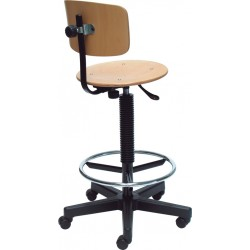 Techniq Lift Ring laboratóriumi szék, laborszék, fa hát- és ülőfelülettel